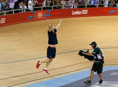 Iain Dyer, Britain's cycling sprint coach, celebrates after Jason Kenny defeated France's Gregory Bauge during the track cycling men's sprint gold finals at the Velodrome during the London 2012 Olympic Games. PAUL HANNA/REUTERS