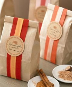 ribbon/brown bag favor bag