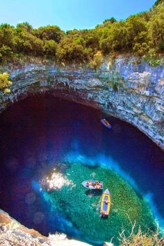 Melissani Cave And Beautiful Swimming Pool In Greece