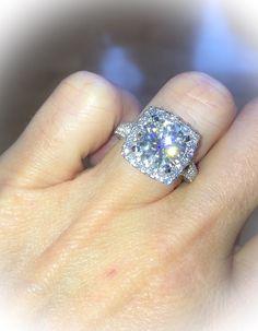 Platinum Diamond Engagement Ring Round by PristineCustomRings Unique Diamond Engagement Rings, Halo Engagement, Round Diamond Ring, Round Diamonds, White Gold Diamonds, Natural Diamonds, Forever Brilliant Moissanite, Celebrity Jewelry, Wedding Rings