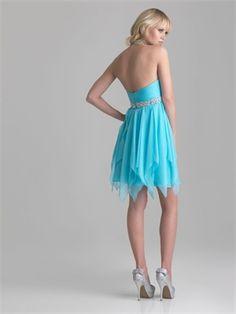 Chiffon Keyhole Halter Beaded Short Prom Dress PD2080 http://www.simpledresses.co.uk