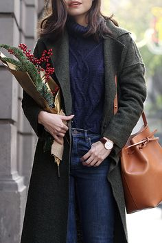 Cozy Christmas outfit & holiday scenery at Barcelona, Spain on fake leather blog