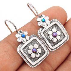 Copper Purple Turquoise 925 Sterling Silver Earrings Jewelry SE99922 | eBay