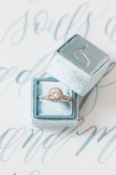 Halo Diamond Engagement Ring and Velvet Ring Box
