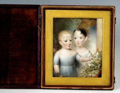 Hand-Painted Portrait En Miniature of Two Children UK Follower Beechey, c.1860 3