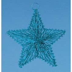 "8"" Dazzling Azure Blue Glittered 5-Point Star Christmas Ornament"