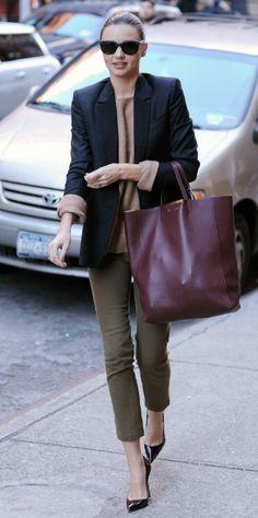 Miranda Kerr in muted tones & Céline blazer.