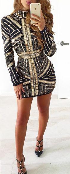 Black & Gold Dress + Studded Heels