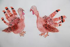 """handprint turkey- maybe have a farm """"family"""" of turkey, horse, cow, chicken, etc. Thanksgiving Projects, Thanksgiving Art, Turkey Handprint, Handprint Art, Zoo Crafts, Preschool Crafts, Animal Crafts For Kids, Toddler Crafts, Thumbprint Crafts"""