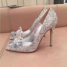Silver Wedding Rhinestone Shoes Sequined Cloth Glass Slipper Pointed Toe Sheepskin Slip On Stiletto High Heels Pumps Cinderella #promheelscinderella