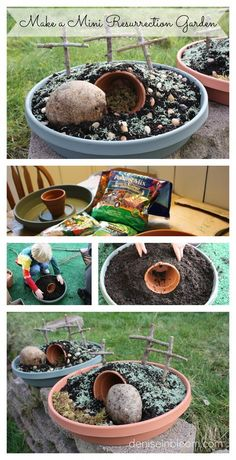 Make A Mini Resurrection Garden For Sunday School this is such a great way to talk to Faith about Easter! Easter Crafts, Holiday Crafts, Easter Decor, Easter Garden, Garden Fun, Garden Ideas, About Easter, Diy Ostern, Easter Activities