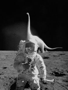 One small step for a man, a giant leap for… holy fuckin' shit it's a dinosaur!