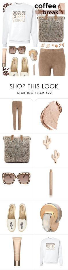 """""""Coffee Break"""" by tinkabella222 ❤ liked on Polyvore featuring Brunello Cucinelli, Christian Dior, Sole Society, Gucci, CC, Estée Lauder, Soludos, Bulgari, Clarins and Chanel"""
