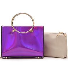 Messenger Female Simple Ring Handbag Fashion Wild Two-piece Shoulder Bag - Purple Processing Time: This item will be shipped out within 3 business days. Travel Handbags, Fashion Handbags, Fashion Bags, Purple Bags, Cheap Shoes, Processing Time, Large Bags, Leather Handbags, Crossbody Bag