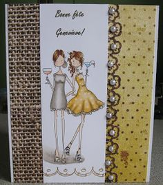 Stamping Bella Uptown girl Victoria and Juliet Cute Drawings Of People, Drawing People, Girl Birthday Cards, 50th Birthday, Copic, Girl Gnome, Purple Cards, Scrapbooking, Art Impressions