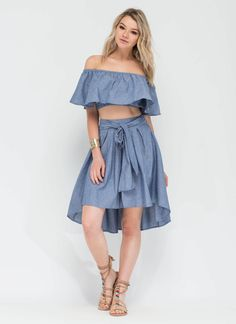 On Cloud Nine High-Low Chambray Skirt BLUE