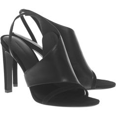 ALEXANDER WANG Benoit Black // Slingback heeled leather sandals ($285) ❤ liked on Polyvore featuring shoes, sandals, black leather shoes, leather sandals, black strap sandals, strap sandals and black heel sandals