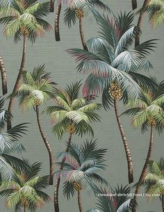 Upholstery fabric for home and office: Tropical upholstery; Array of Colorful Palm trees on an aloe background. By HawaiianFabricNBYond.Etsy.com