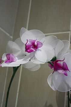 This beautiful Orchid is great to have at home or as a gift. Great for everyone, allergy free, no need to water. Will never die! Last for ever!! Easy to maintain!!!  Size: The flower is approx. 3 inches. The stem is approx. 18-20 inches  Great to have for decorating your table for special events such as parties and weddings. A unique creation by me. Will not be found elsewhere ^_^