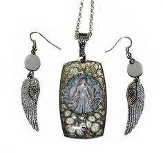Necklace and earrings set  Silver Dragon Queen fantasy