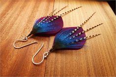 Feather earrings Hidden Treasure. $32.00, via Etsy.