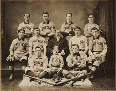 Michael T. McGreevey and players of the amateur baseball team that he sponsored, the Nuf Ceds, 1910. Heehee, nuff said!!