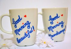 His & Hers Coffee Mugs Good Morning Beautiful and by DreamAndCraft, $25.00