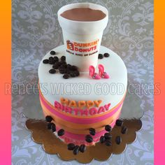 Dunkin Donuts cake! Happy birthday Chella! Renee's WICKED GOOD Cakes - like us on facebook! Follow us on instagram @renees_wicked_good_cakes Check out our etsy shop! Dunkin Donuts Cake, Dunkin Dounuts, 16 Cake, Wicked Good, Happy Birthday, Birthday Cake, Night Aesthetic, Fun Cakes, Cupcake Ideas