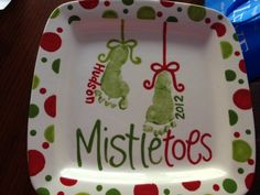 Mistletoes plate. Great to do at a paint your own pottery store.