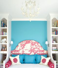 girl's rooms - turquoise blue accent wall white chandelier red toile upholstered fabric headboard built-in day bed blue pillows fuchsia pink bolster pillows silhouette pillows sconces drawers Turquoise Bedroom Decor, Bedroom Turquoise, Bedroom Built Ins, Built In Bed, Blue Bedding, Blue Pillows, Girl Bedroom Designs, Girls Bedroom, Bedroom Ideas