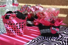 Minnie Mouse & zebra print. Def considering this for Tenley's 2nd birthday party :D