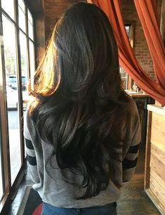 Nice Long Dark Chocolate-Brown Hair Colors Ideas for Wavy Hairstyle 2017 with La Wavy Layered Hair, Brown Wavy Hair, Long Dark Hair, Grow Long Hair, Long Hair Cuts, Layerd Hair, Black Hair, Waist Length Hair, Long Length Hair