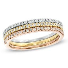 1/4 CT. T.W. Diamond Three Piece Band Stackable Set in 10K Tri-Tone Gold