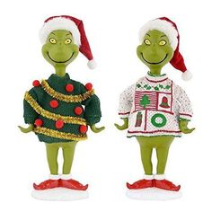 """Dr. Seuss The Grinch Tinsel """"Ugly Sweater Collection"""" Christmas Figurines; Set of Two"""