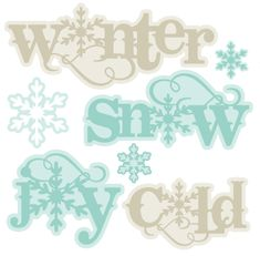 Assorted Winter SVG Scrapbook titles cut files flower scal files free scut files free svgs for scrapbooking