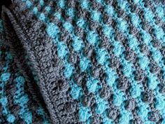 No Pattern:  Bobble stitch crochet blanket. Note from crocheter:  I finished with double crochets, single crochet, and then reverse single crochet