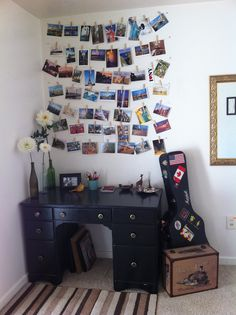Idea for displaying collected postcards:  Polka Hearts Crafts & Creations (and other stuff): DIY Decorating: Display your postcards, photographs, and artwork with clothespins!