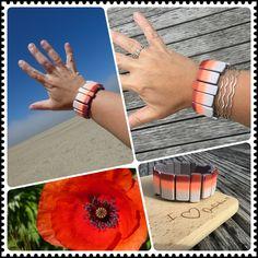 Premo, cernit, fimo, polymer clay. Stretch Bracelets, Polymer Clay, Orange, Fimo, Modeling Dough