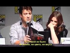 Nathan Fillion and Stana Katic reads a page of a Rick Castle Book...He is so hilarious!