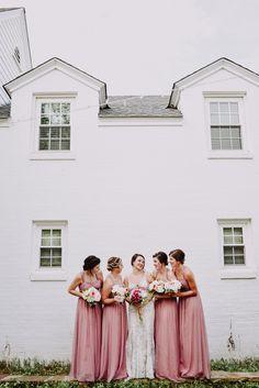 Mauve and pink bridesmaids dresses. Oklahoma wedding. Peyton Rainey Photography www.peytonraineyphotography.com