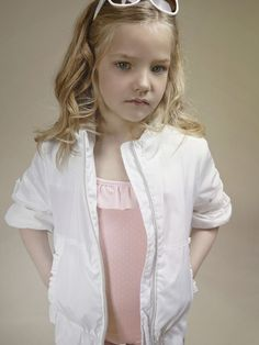 White summer jacket with salmon pink ruffle top - Tween Clothing - Kids Fashion