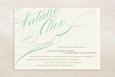 Winter Flourish Calligraphy Script Wedding Invitations by annie clark Bling Wedding, Wedding Paper, Wedding Cards, Diy Wedding, Wedding Fonts, Wedding Ceremony, Dream Wedding, Wedding Ideas, Invitation Design