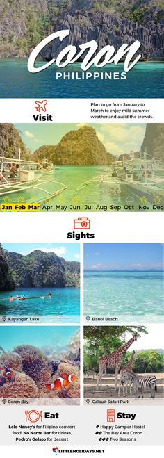 Head over to Coron, one of the amazing destinations that have made Palawan the world's best tropical destination year after year. From pristine white beaches to stunning blue lakes, this is the tropical holiday you've been dreaming of.