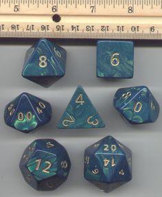 RPG Dice Set of 7 - JUMBO Interferenz Green D20 D12 D10 etc