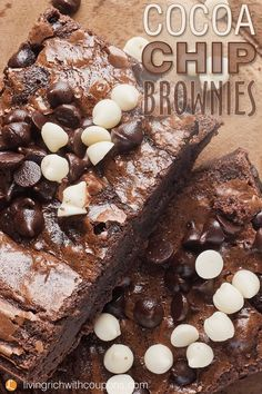 My Cocoa Chip Brownies recipe has a nice mix of cocoa, semi-sweet chocolate chips and white chocolate chips. So easy to make! Pin to your dessert board for later. #cocoachipbrownies #brownies