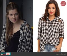 Kara's plaid shirt with lace up shoulders on Red Band Society.  Outfit Details: http://wornontv.net/39768/ #RedBandSociety