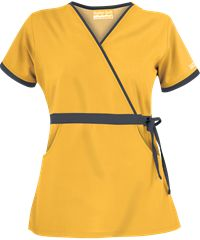Butter Soft Women's Mock Wrap Scrub Top with Side Drawstring Tie by UA Scrubs features solid contrasting trim for a fashionable appearance. Dental Life, Uniform Advantage, Medical Uniforms, Scrub Tops, Hair Designs, Work Fashion, Scrubs, Work Wear, Dresses For Work