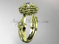 """14kt yellow gold diamond floral, leaf and vine \""""Basket of Love\"""" ring with a """"Forever One"""" Moissanite center stone ADLR94 nature inspired jewelry"""