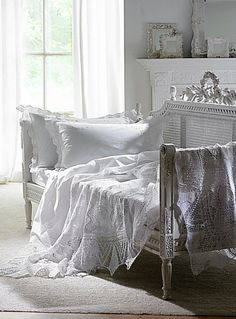 Create calm and tranquility: Boho lace throw shaby chic white day bed