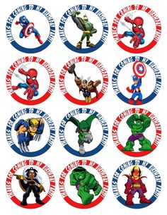SUPERHERO Printable Birthday Party Cupcake Toppers by GELATODESIGN, $7.50